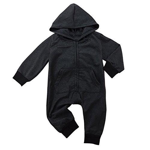 Borlai 0-24 maanden lange mouwen overall modebodysuit van de baby met capuchon speelpak 12~18 Monate zwart