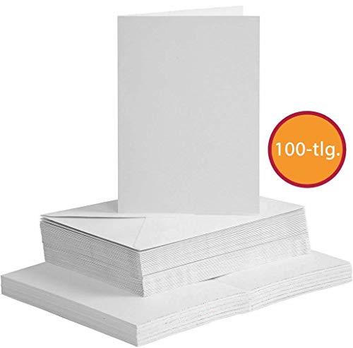 Sparset Karten und Briefumschläge Set, DIN A6, 100-tlg, Weiß, Kartengröße 10,5x15 cm, Umschlaggröße 11,5x16,5 cm