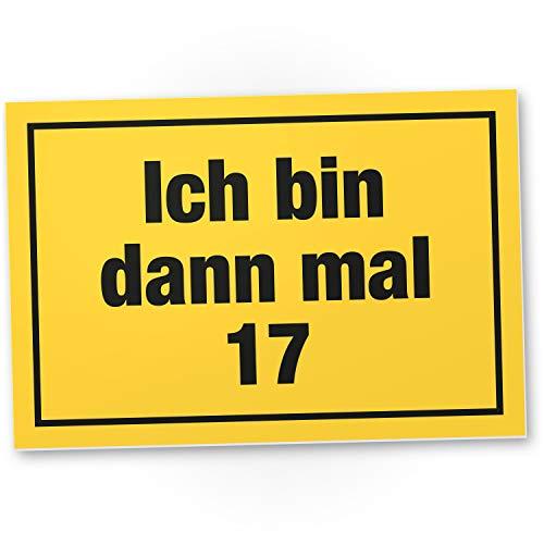DankeDir! Ich bin dann mal 17 - Kunststoff Schild 30 x 20 cm - Geschenk Geburtstagsgeschenk 17er 17. Geburtstag Jungen & Mädchen 17 Jahre - Geburtstagsdeko Geschenkidee Partydeko Geburtstagskarte