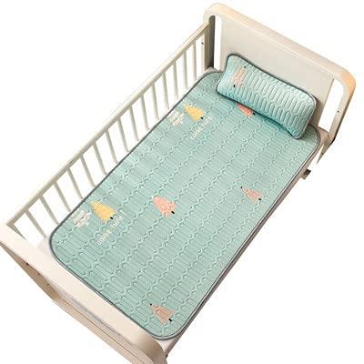 youwu Alfombrilla de verano para cama de bebé de seda de hielo, transpirable, cambiador de pañales, portátil, lavable, accesorios de sábanas (color marfil, tamaño: con funda de almohada)
