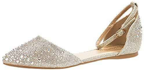 DREAM PAIRS Damen Strasssteine Ballerinas Schuhe D'Orsay Flach Flapointed-Shine Gold Größe 10 US / 41 EU