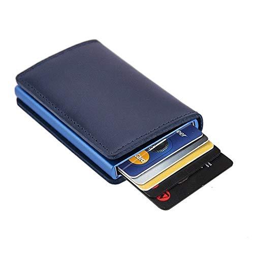 Dlife Tarjetero RFID Cartera Crédito, Cartera de Aleación de Aluminio Multiuso Bolsillos, Premium Cuero Exterior Automáticas Desplegables para Hombres y Mujeres (Caja Azul-2)