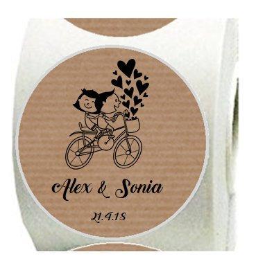100 Etiquetas kraft Bicicleta para boda personalizadas: Amazon.es ...