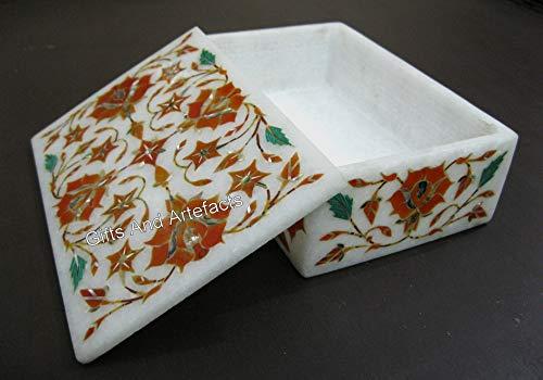 Caja de mesa auxiliar de cama de mármol blanco con incrustaciones de piedras de cornalina de la India de 15 x 10 cm