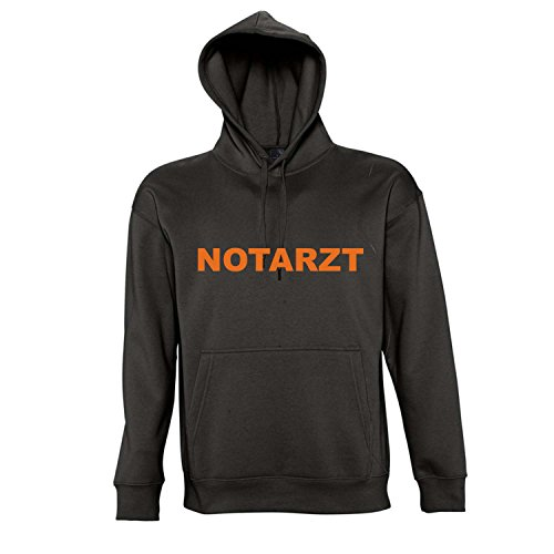 NOTARZT FASCHING, KARNEVAL, Kapuzen Sweatshirt - Pullover S-XXL , Deep black - orange , XXL