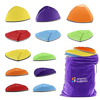 Special Supplies Stepping Stones for Kids Indoor and Outdoor Balance Blocks Promote Coordination Balance Strength Child Safe Rubber Non-Slip Edging  Multi-Color 12