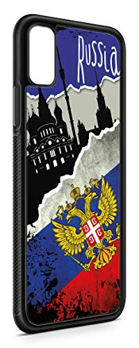 Kompatibel mit iPhone XR Silikon Handyhülle Flexibles Slim Case Cover Russland Fahne Flagge Schwarz