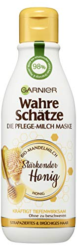 Garnier Wahre Schätze Pflege-Milch Maske Stärkender Honig, 1er Pack (1 x 250 ml)