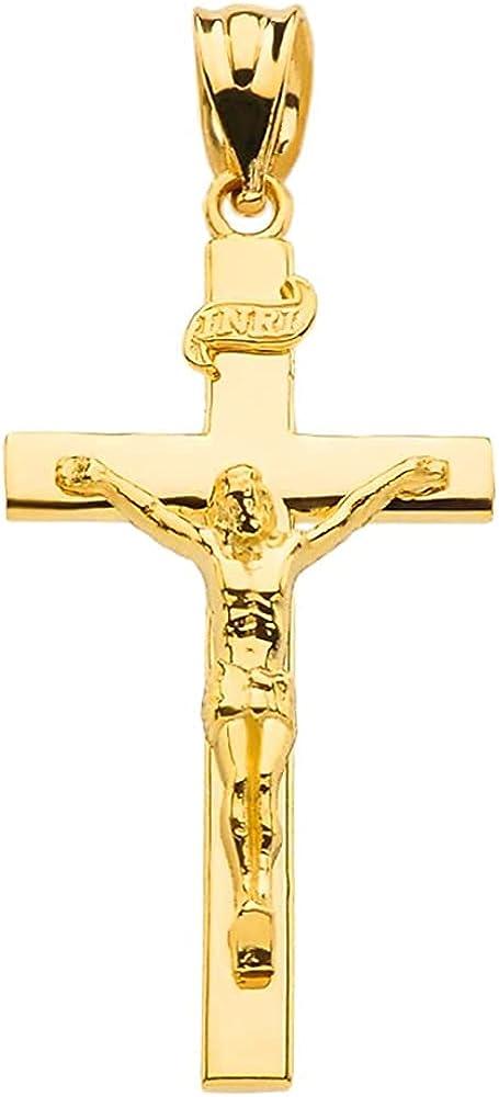 10K Yellow Gold Catholic Linear Cross INRI Crucifix Pendant Charm - Choice of Size