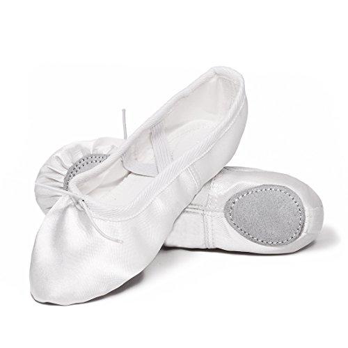 Ballettschuhe Mädchen Tanzschuhe ballettschläppchen Damen bequem Spitzenschuhe Kinder Weiß 37