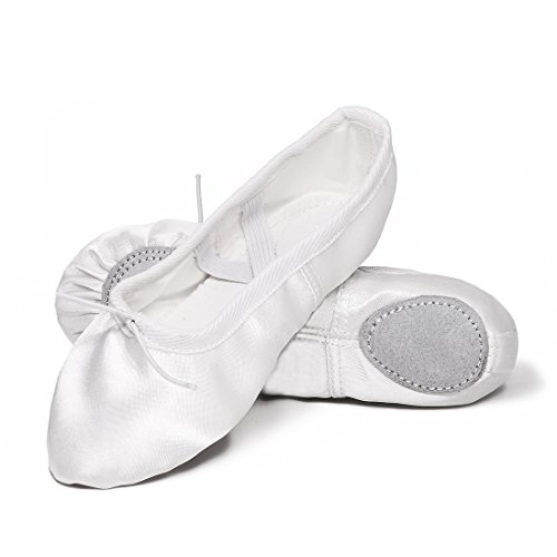 APTRO Ballettschuhe Mädchen Tanzschuhe ballettschläppchen Damen bequem Spitzenschuhe Kinder Weiß 29