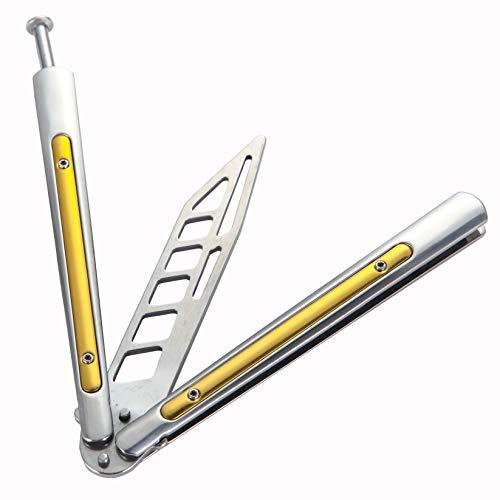 Herramienta de entrenamiento plegable con agujeros de balanceo, hoja de contraste de acero inoxidable, barra para dedo de plata y amarillo