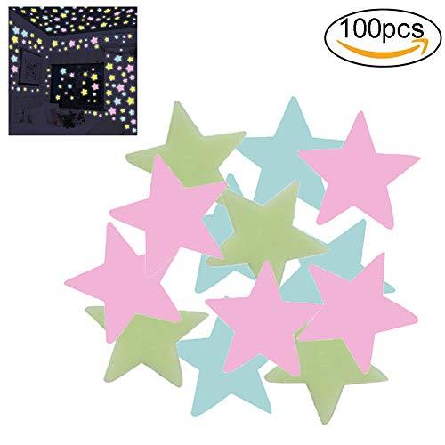 Xiton 100 Pezzi/Set Adesivi Bagliore Nelle Stelle Scure Adesivi Bagliore 3D Luminosi Adesivi Murali Creano Un Cielo Stellato Realistico Per La Camera Dei Bambini Decorazione Della Casa(Blu)