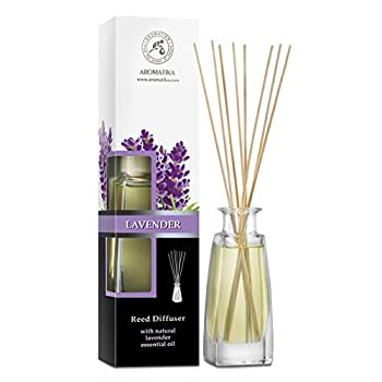Reed Diffuser with Natural Essential Oil Lavender 3.4 oz  100ml  - Lavanda Diffuser - Scented Reed Diffuser - Non Alcohol - Gift Set w/Bamboo Sticks - Best for Aromatherapy - Home - Office - Fitness