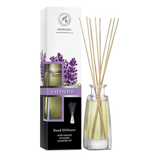 Parfum d'ambiance avec huile essentielle naturelle à la lavande 100 ml avec bâtonnets en rotin – Sans alcool – Meilleur désodorisant pour la maison, le bureau, la boutique, le spa, l'aromathérapie.