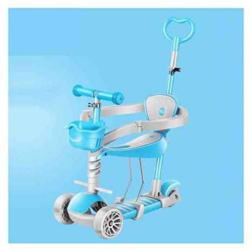 WJJ Patinetes para Niños Niños Scooter Tabla de flotación Triciclo 3en1 4 etapas Ajustable de 1-8 años de Edad, Regalo Brillante Ruedas for los niños Lactantes (Color : Blue)