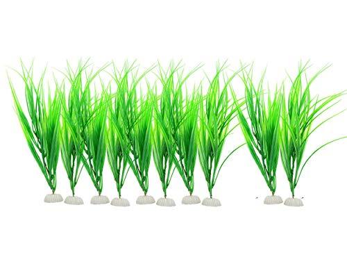Saim Lot de 10 plantes artificielles pour aquarium Vert 34,8 cm