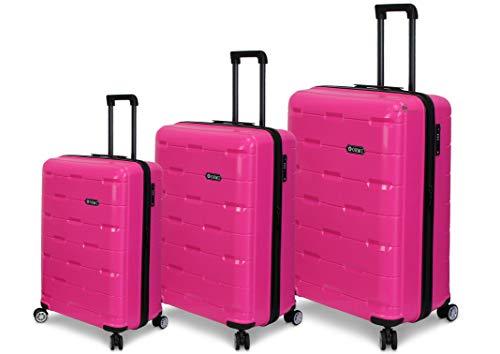 ORMI Set 3 Trolley In ABS 8 Ruote Con Bagaglio a Mano Lucchetto TSA Mod.:PP01 (Fuxia)