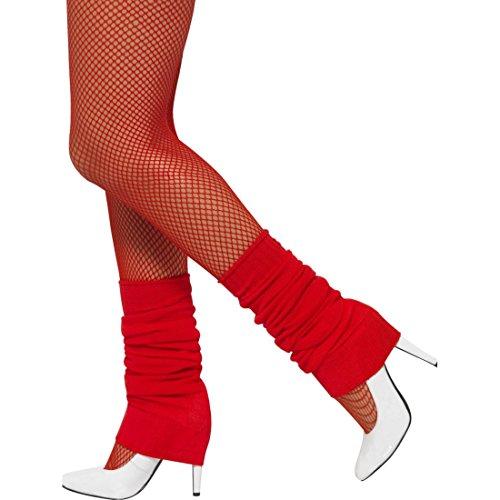 NET TOYS Stulpen 80er Jahre Beinwärmer Aerobic rot Beinstulpen Achtziger Legwarmers Ballett Tanzstulpen Kostümzubehör Faschingskostüm Accessoire