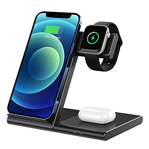 WATOE Caricatore wireless 3 in 1 induttivo con certificazione Qi, caricabatterie wireless per Apple Watch 6/SE/5/4/3/2/1/Airpods Pro, iPhone 12/11 Pro Max/Se 2/XS Max/XR/8 Plus/X/Samsung Galaxy
