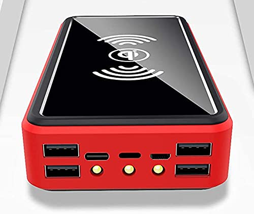 Chargeur Solaire 100000MAH, Chargeur De Panneau De Banque Solaire Portable sans Fil avec LED Et 4 Ports De Sortie USB Batterie De Sauvegarde Externe Batterie D'énorme Capacité De Téléphone