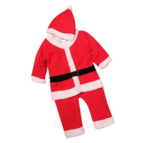 CHENGYANG Bambino Ragazze Ragazzi Costume di Natale Outfit con Cappello Abbigliamento Santa Babbo