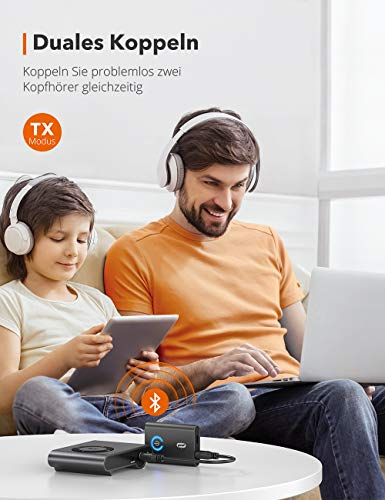 TaoTronics Bluetooth Adapter Audio 5.0 Transmitter Empfänger 2 in 1 Sender / Receiver Adapter mit 3,5mm Audio Kabel für Kopfhörer HiFi Lautsprecher Radio Auto TV PC Laptop Tablet MP3 /MP4