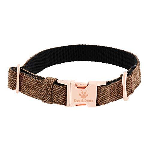 Collar de Perro Argos, Oro Rosa, Ajustable, Perros Grandes y Perros pequeños, Nailon Tweed, Perro Regalo (M/L 41-63 cm)