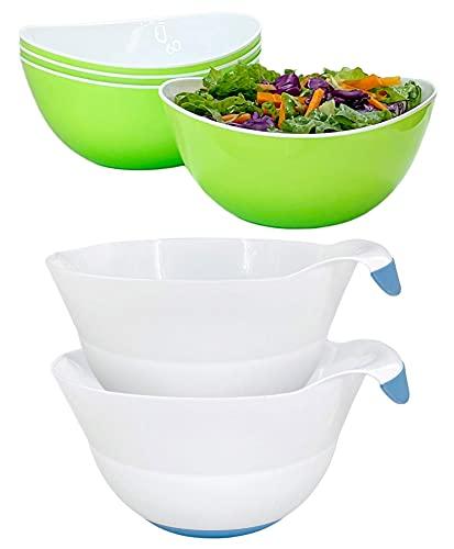 Honla Set of 4 Green Salad Bowls Bundle with Set of two Blue Mixing Bowls (2 Items)