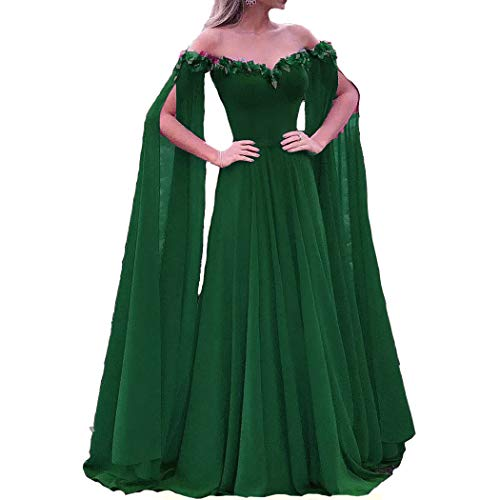 Lemai Off The Shoulder Long Sleeves Cape Prom Evening Dresses Emerald Green US 8
