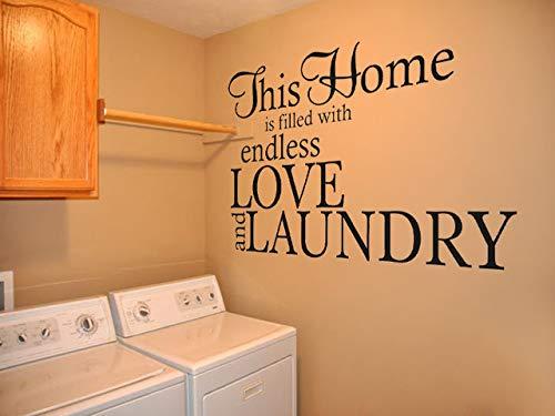 Adhesivo decorativo para pared de lavandería, diseño de texto en inglés 'Love & Launching', vinilo, gris, Medium - 57cm wide x 36cm high