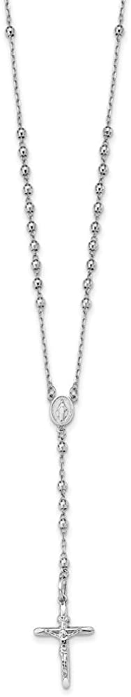 Black Bow Jewelry 14k White Gold 3mm Beaded Rosary Necklace with Crucifix, 24 Inch
