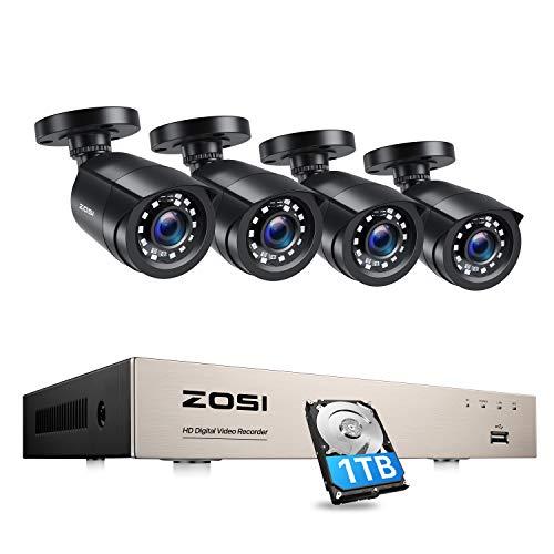 ZOSI 8CH 4in1 1080P DVR Recorder mit 4 Outdoor 1080p Außen Video Überwachungskamera System Überwachungsset, 1TB Festplatte, 24M IR Nachtsicht