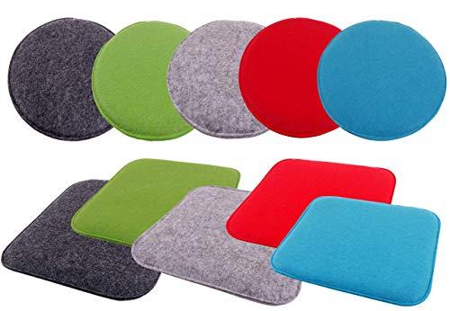 CB Home & Style Stuhlkissen aus Filz rund 35 cm Durchmesser Sitzkissen Auflage Polster Kissen (Rot)