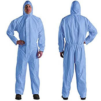 AMAZING Pack of 5 Blue SMS Coveralls with Hood Elastic Cuffs Ankles Waist Zipper X-Large Industrial Unisex Disposable PPE Workwear for Cleaning Painting Breathable Full Body Protective Suits.