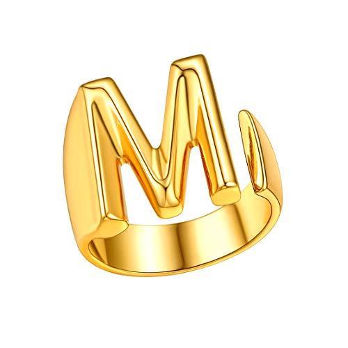 FindChic Nombre Personalizado Anillo de Letras M Anillo Oro Abierto