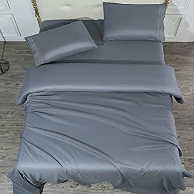 SONORO KATE Bed Sheet Set Super Soft Microfiber 1700 Thread Count Luxury Egyptian Sheets 16-Inch Deep Pocket?Wrinkle and Hypoallergenic-4 Piece (Dark Grey, Queen)