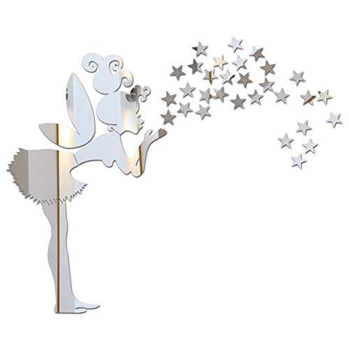 Lidylinashop Spiegel Selbstklebend Spiegel Zum Aufkleben Auf Schrank Wand Dekoration Wandaufkleber 3D Wandaufkleber Wand Aufkleber Für Schlafzimmer Silver