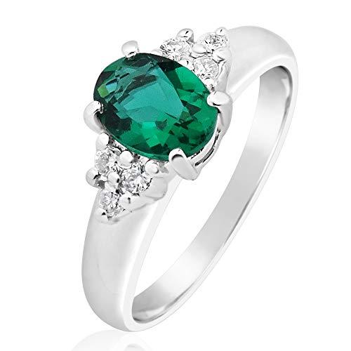 MILLE AMORI ∞ - Anello di fidanzamento da donna in oro e diamanti ∞ oro bianco 9 kt 375 diamanti 0,12 Kt ∞ smeraldo sintetico 0,80 Kt 7 x 5 ∞ Gems e Oro bianco, 10, cod. 2380