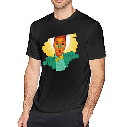 ADKASD Camisetas y Tops Men's Print Janelle Monae Logo tee Black