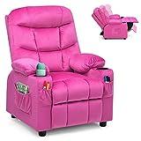 Costzon Kids Recliner Chair with Cup Holder, Adjustable Velvet Lounge Chair w/Footrest & Side Pockets for Children Boys Girls Room, Ergonomic Toddler Furniture Sofa, Kids Recliner (Rose)