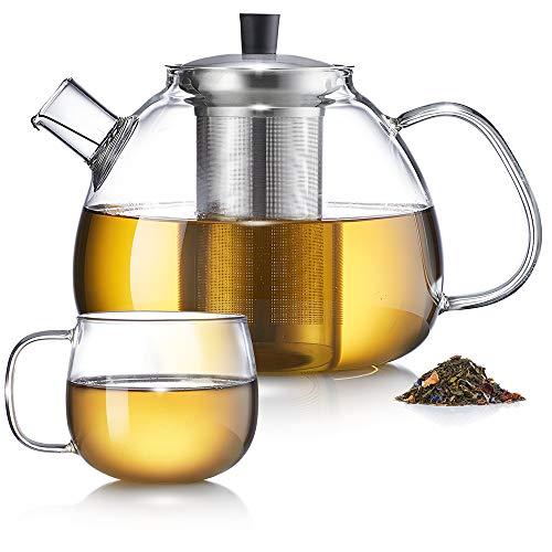 Zoë&Mii -1500ML Teekanne Glas - Teekanne mit Tasse -Teebereiter Siebeinsatz - Geschenke-Teekessel mit Tasse - Glaskanne für losen Tee und Teebeutel
