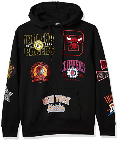 Ultra Game NBA Herren Kapuzenpullover aus weichem Fleece, Herren, Men's Soft Fleece Multi Team Pullover Hoodie Sweatshir, schwarz, X-Large