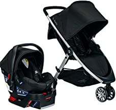 BRITAX B-Lively Travel System with B-Safe 35 Infant Car Seat   One Hand Fold, XL Storage, Ventilated Canopy, Easy to Maneuver, Raven (S05588500)