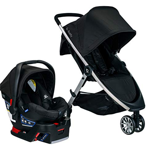 BRITAX  B-Lively Travel System with B-Safe 35 Infant Car Seat | One Hand Fold, XL Storage, Ventilated Canopy, Easy to Maneuver, Raven (S05588500)
