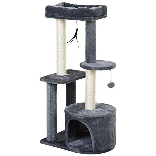 PawHut Cat Multi-Activity Tree Tower w Perch House Scratching Post Platform Play Ball Plush Covering Play Rest Relax Grey White