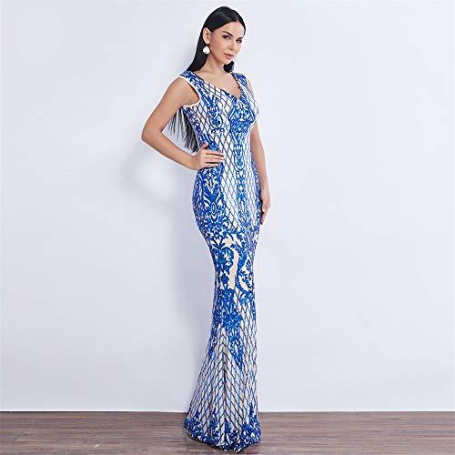 BINGQZ Feestjurk/blauw/rood/goud patroon stijl Pailletten Avondjurken lange Feestjurk longo prom jurk Avondjurk