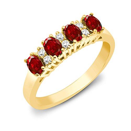Jewelco Europa Señoras Oro Amarillo 9k 0.12ct Diamante Rubi eternidad anillo