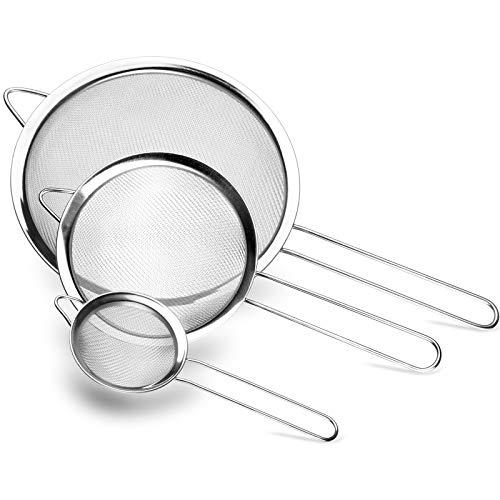 Lavvio Küchensieb, Aufhängbar ist Sieb Edelstahl, langem Griff Nudelsieb, DREI Verschiedene Größen von Feinsieb, 8/14/20 cm küchensieb Edelstahl, Leicht zu reinigen, Vielfältige Einsatzmöglichkeiten