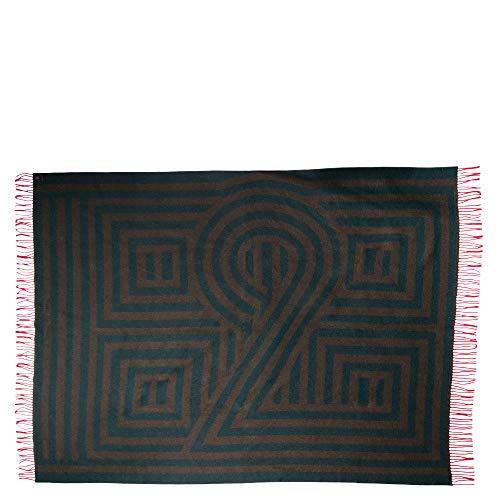 ZOEPPRITZ 1828 Decke – Wolldecke aus Schurwoll-Mischung – mit Fransen – grafisches Design, hochwertige Webung – waschbar (670 Forest, 130 x 190 cm)